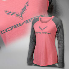 2014-2019 Corvette C7 Womens Raglan Sleeve Shirt with Logo & Script 637651