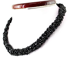 Exclusive 130.65 Cts Natural Rich Black Spinel Untreated Faceted Beads Nacklace