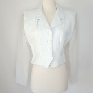 Vintage 80s 90s Firenze White Leather & Sheer Crop Jacket L Made in USA Soft