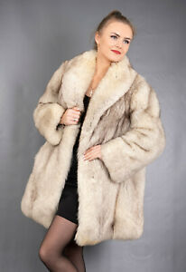 372 GORGEOUS REAL BLUE FOX FUR COAT LUXURY FUR JACKET BEAUTIFUL LOOK SIZE L
