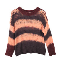 Anthropologie Lilis Closet Open Cable Knit Sweater Size S Striped Long Sleeve