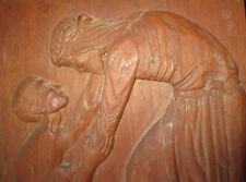 VINTAGE ORIGINAL HAND CARVED WOODEN WALL PLAQUE JESUS COMFORTS YOUNG MAN