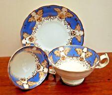 Early 19thC Antique Ridgway True Trio Blue, Yellow & Gilt Pattern 528 (4)