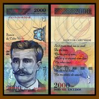 Cape (Cabo) Verde 2000 Escudos Banknote, Issued 1999 P-66 Flower Unc