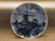 Delft Blue Handpainted Collectors Wall Plate - Windmill & Boat Holland Design