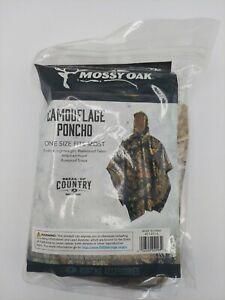 NEW MOSSY OAK Break-Up Country CAMO Waterproof Hooded Packable RAIN PONCHO 1 Sz