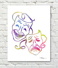 Comedy Tragedy Masks Abstract Watercolor Painting Art Print by Artist DJ Rogers