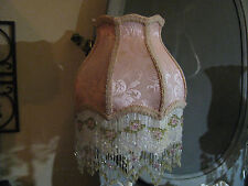 "Victorian French Med Corset Lamp Shade ""Pink"" Fringe And 6"" Beads"