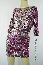 Steppin Out Sequined Pink Silver Long Sleeves Open Back Bow tie Size 5/6