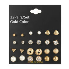 12Pairs/Set Pearl Heart Crystal CZ Stud Earrings Yellow Gold Plated Earrings Set
