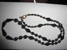 collana vintage con perle nero - grigio a goccia sferiche e rombi in ematite