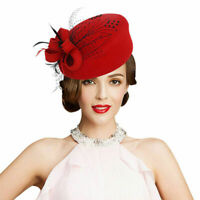 Embroidered Women Lady Veil Netting Wool Felt Fascinator Pillbox Hat Party A140