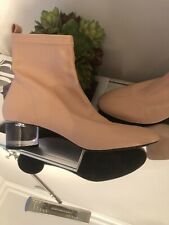 Zara  Pink Ankle Boots With Methacrylate Heel, Size 39, US 8