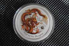 2012 Lunar II Drache 1 oz braun farbig coloriert Silber Perth Mint Top Zustand