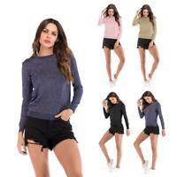 Jumper Crew Neck T Shirt Long Sleeve Tops Sweater Slim Fit Pullover Women's