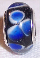 Blue White Clover Flower Murano Glass Bead for Silver European Charm Bracelet