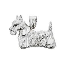 Fine White Gold Diamond-cut Scottish Terrier Dog Charm Pendant