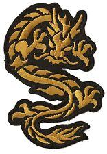 Ecusson patche thermocollant Dragon doré medium patch NagaPatches brodé