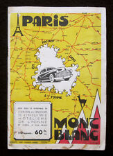 RARE PLAQUETTE PLAN DEPLIANT PARIS MONT-BLANC UNION SYNDICAL HOTELLERIE YONNE