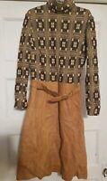 Vintage Brown Suede Geometric Knit Print Turtle neck Long Sleeve Dress SZ 12 GUC