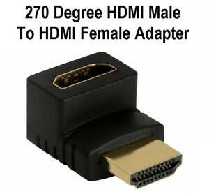 HDMI Male to HDMI Female 270 Degree Angle Adapter Gold Plated Converter