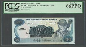Nicaragua 500000 Cordobas o 1000 Cordobas 1985(1990) P163 Uncirculated Graded 66