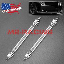 """Silver 6""""-8"""" Adjustable Front/Rear Frame Bumper Lip Splitter Strut Rod Support"""