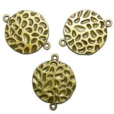 MX916p Antiqued Bronze 24mm Flat Round Hammer Textured Metal Link Bead 50pc