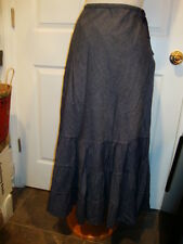 April Cornell Blue Denim Skirt New L Large Vintage Romantic Tiered A-line NWT