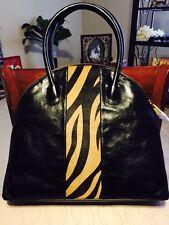 Belle Badgley Mischka Black Handbag Leather, Zebra Stripe (Lucy Haircalf) NWT