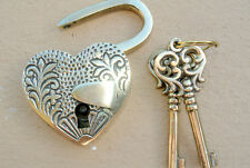 "engraved PADLOCK 3"" old stye HEART LOVE solid brass 2 keys lock bridge polishedB"