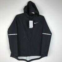 Nike Zonal AeroShield Black Zip Closure SZ L NWT Hooded Running Jacket Women's