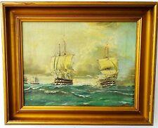 Antike Ölgemälde Segelschiffe auf Meer Hollandische Stil Maritimer Kunst 1900