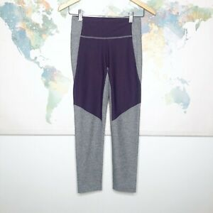 Outdoor Voices Small Leggings Purple Gray Colorblock Cropped Stretch Athletic