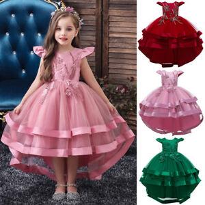 Kinder Partykleid Blumenmädchen Tüll Prinzessin Tutu Spitzen Hochzeit Abendkleid