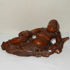 Chinese Rosewood Carving Reclining Buddha with Beast Glass eyes  Signed