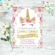 Unbranded for girls birthday greeting cards invitations ebay unicorn birthday party gold glitter personalised invitation invites floral bookmarktalkfo Image collections