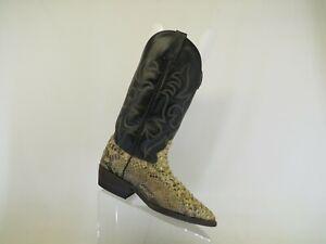 Black Leather Snake Cowboy Western Boots Mens Size 5 D