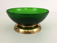 vintage Paden City Glass Co. EMERALD GLO green glass salad bowl 1940's 1950's