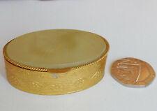 "Embossed metal trinket pot ring jar pill box with green stone lid vintage 2"""