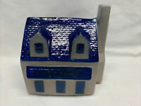 Eldreth Vintage Pottery Ceramic Salt Glazed House Coin Bank Cobalt Blue Gray