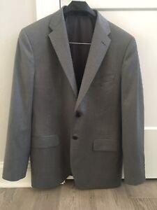 Saks Fifth Avenue Men's Loro Piana 100% Wool 40R Suit Coat Gray 2 Button #hang
