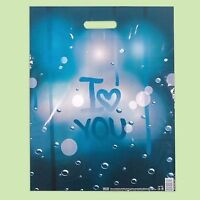 "Pack of 50 ECO Blue Printed Plastic Gift/Shopping/Carrier Bags ""I Love You""40x50"
