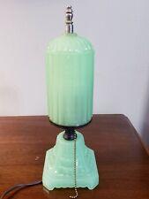 "Stunning Vintage Art Deco Green Jadeite Glass 11.5"" Lamp"