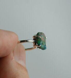 Chalama schwarzer Opal Ring Größe 55 Sterling Silber roher Opal