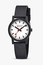 Mondaine MS1.32110.RB Unisex Essence 32mm Rubber Strap Watch - (Black/White) B+