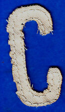 "LETTER ""C"" - 2 1/2"" NATURAL COLOR DISTRESSED LOOK TWILL IRON ON LETTER"