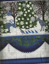Winter Menagerie Jason Yenter metallic stripe Christmas fabric