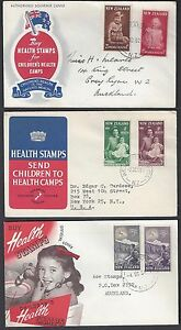 NEW ZEALAND 1950s THREE FDCs WITH HEALTH STAMPS & CACHET