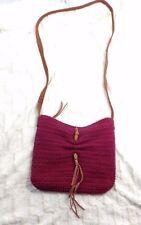 LUCKY BRAND Pink Brown Leather Boho Fringe Crossbody Bag Handbag Purse